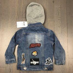 Other - NWT Kids Rock Patch Hoodie Denim Jean Jacket 2T